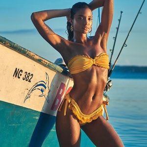 Yellow bandeau bikini set